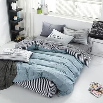 Elegant Bedding Set  Pillowcase Sheet Duvet Cover Sets Grey/Blue Bedding Set Cotton Queen/King Size Egyptian Cotton Bedding
