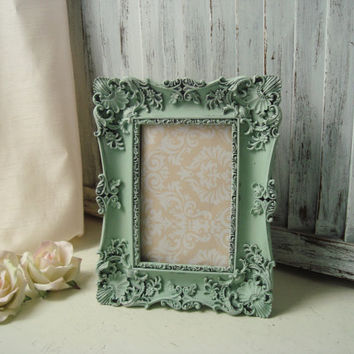 Mint Green Ornate 4 x 6 Picture Frame, Wedding Table Number Frame, Easel Back Vintage Style Picture Frame, Pastel Green Frame