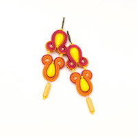 Summer earrings, long dangle, bright neon colors, lemon yellow orange, soutache jewelry, unique orecchini, beadwork, spring easter, beach.