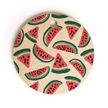 Zoe Wodarz Watermelon Wander Cutting Board Round