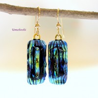 Deep Forest Handmade Dichroic Glass Dangle Earrings Green, Blue, Black, Gold