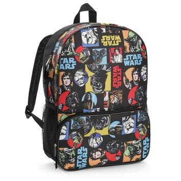 "Disney Star Wars 16"" Classic All Over Print Kids 16-inch Backpack Bag - Black"