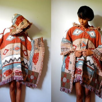 Vtg Southwest Tribal Print Earthy Fringed Hooded Poncho