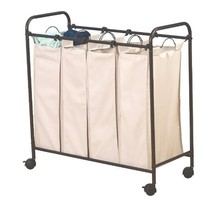 Household Essentials 3477 Rolling 4-Bag Laundry Sorter