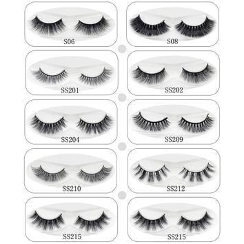 Lash 3D Mink Lashes Eye Lashes Soft Thick & Natural Long Fake Eyelashes Extension For Makeup 100% Handmade 9 Styles 1 Pair
