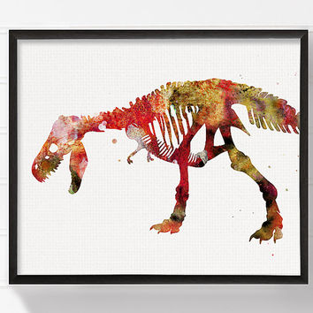 T Rex Skeleton, Dinosaur Art Print, Dinosaur Poster, Dinosaur Wall Decor, Watercolor Dinosaur, Kids Room Decor, Childrens Room Decor, Red