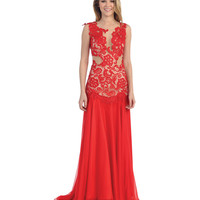 Red Lace Sheer Drop Waist Dress 2015 Prom Dresses