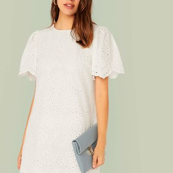 Scallop Edge Eyelet Embroidered Tunic Dress