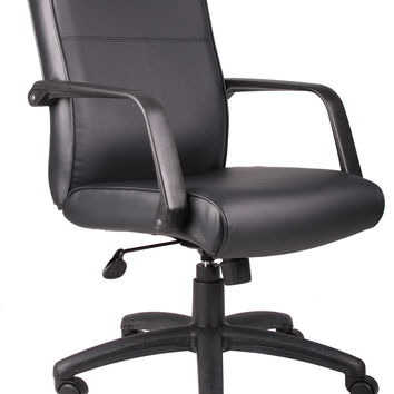 Executive Office Chair Upholstered In Black w Arms, Casters & Adjustable Seat Height