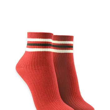 Ribbed Striped Crew Socks