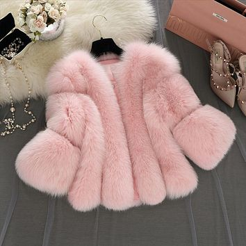 S-4XL plus size Winter New fashion brand Fake fox fur jacket women's warm jacket stitching thicker Faux fur coat w1768