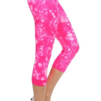 Tie Dyed Pink Activewear Capri Leggings