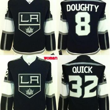 Ladies Los Angeles Kings 8 Drew Doughty Hockey Jerseys Womens 32 Jonathan Quick Home Black Cheap LA Kings Girls Stitched Jersey