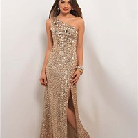 Gold Sequin One Shoulder Fitted Prom Gown - Unique Vintage - Cocktail, Pinup, Holiday & Prom Dresses.