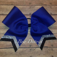 "3"" Royal Blue Team Cheer Bow with Silver and Black Glitter Tail Stripes"
