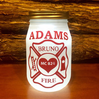 Firefighter Gift, Firefighter LED light, Custom Firefighter mason jar, Firefighter light, personalized Firefighter jar, First Responder gift