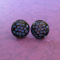 Polka Dot Earings, Button Earrings, Multicolored Earings, Costume Jewelry on Etsy - Shiloh - 2180 -3