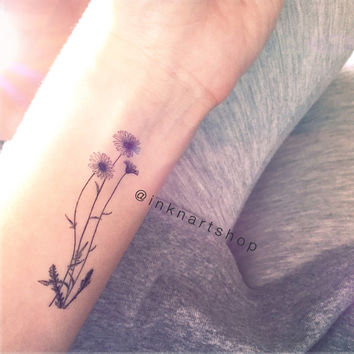 2pcs Wild Dasiy drawing flowers illustration tiny tattoo - InknArt Temporary Tattoo - wrist quote body sticker fake tattoo tattoo small