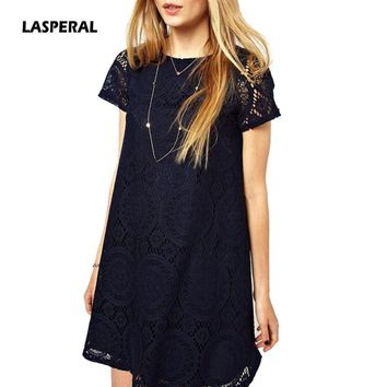 LASPERAL 2018 O Neck Hollow Out Mini Dress Women Sexy Short Sleeve Lace Print Summer Casual Loose Dresses Vestido Plus Size 5XL