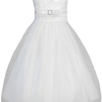 Lace Trimmed Satin & Tulle Girls Plus Size Communion Dress 8x-14x