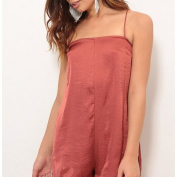 Rompers & Jumpsuits > Selena Open Back Romper In Satin Rust