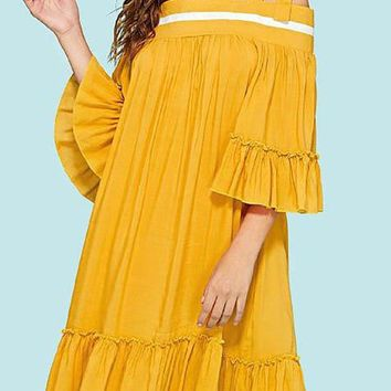 A| Chicloth Spaghetti Midi Dress Shift Beach Bell Sleeve Holiday Dress