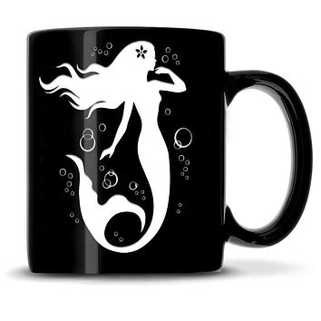 Premium Coffee Mug, Mermaid 7 Design, 12oz (Black)