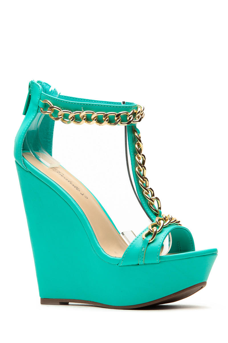 2e7d6642c1 Breckelles Gold Chain Sea Green Wedge from CICI HOT | Cute Wedges