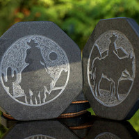 Black Slate Stone coaster set silhouette design hand carved unique home decor