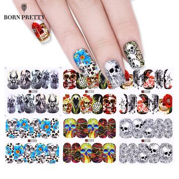 1 Big Sheet Skull Flower Nail Water Decal Halloween Series DIY Transfer Sticker Manicure Full Nail Wraps 12 Patterns/Sheet