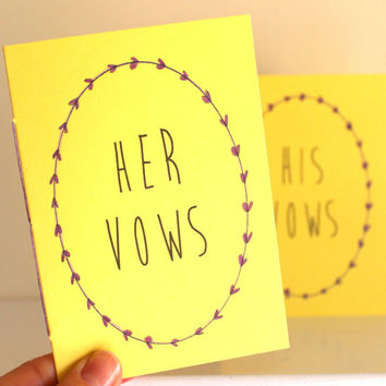 Yellow Wedding Vow Books - His And Her Vow Books