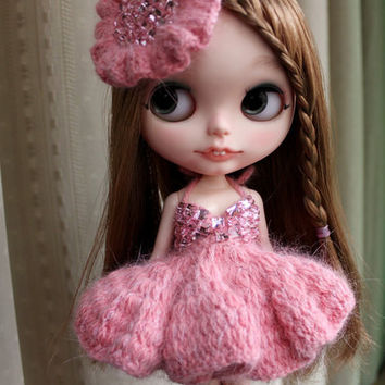 Sexy Bling Bling Pink Blythe Knitted Mink Yarn Dress With Hat | Doll Apparel | Blythe Clothes | Doll Dress