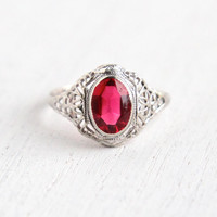Vintage 10k White Gold Ruby Pink Glass Stone Ring - Size 5 Antique Filigree Art Deco 1930s Fine Jewelry