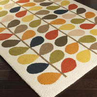 Orla Kiely Area Rug | Off-White Floral and Paisley Rugs Machine Made | Style OKR5000