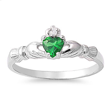 925 Sterling Silver CZ Benediction of the Claddagh Simulated Emerald Ring 7MM