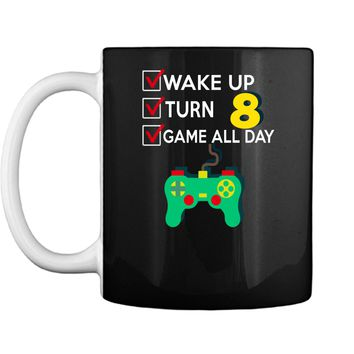 8 Yr Old Boy Game All Day Gamer Birthday Party Shirt Outfit Mug