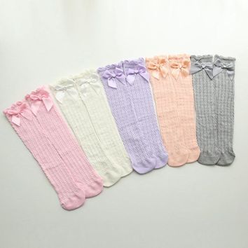 Knee Socks for 0-6 Years Children Baby Tights with Bows Toddler Girl Cotton Candy Colors Tights Toddler Knee High Socks
