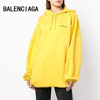 BALENCIAGA Autumn Winter Classic Popular Casual Embroidery Hoodie Velvet Sweater Pullover Top Sweatshirt Yellow