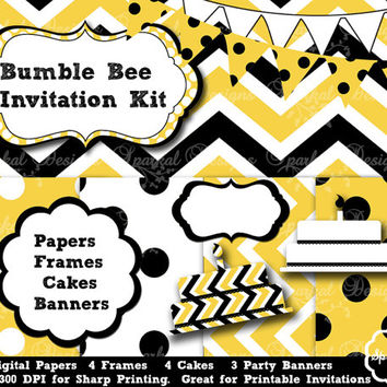 Bumble Bee Invitation set, Chevron Paper, Polkadot Invitation Backgrounds Printable Party Paper, Invitation paper Instant Download