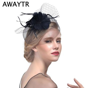 Fascinator Hairpin AWAYTR Feather Hat Ladies Cocktail Dinner Party Cap Wedding Bridal Hat Feather Hats Vintage Sombreros Chapeau