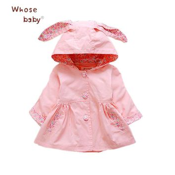 Baby Girl Clothes Winter Rabbit Coat Newborn Cotton Windbreaker Infant Flower Outwear Hooded Jacket for Girls School Baby Coats