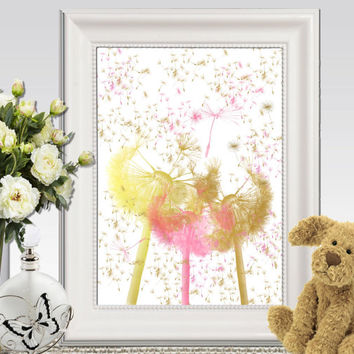 Nursery flowers printable Gold and pink nursery decor Dandelion seed Little girls bedroom wall art Gift idea 5x7 8x10 11x14 INSTANT DOWNLOAD
