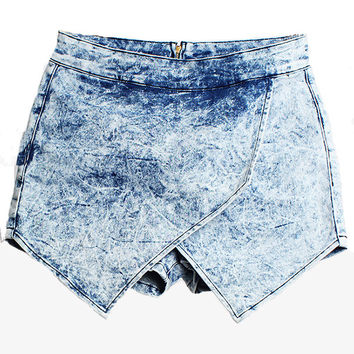 Blue Irregular Denim Shorts