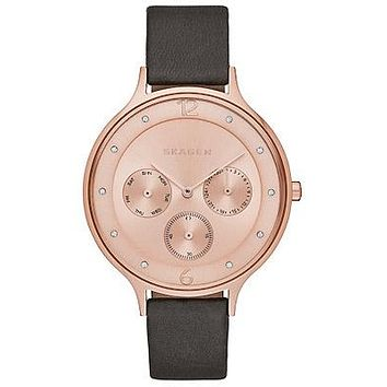Skagen Ladies Anita Calendar Watch - Rose Gold-Tone - Black Leather Strap
