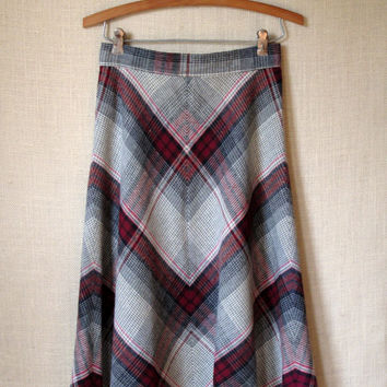 Vintage 70s Plaid A-line Bias-cut Skirt, College Town, burgundy and grey, small medium size, Anthropologie style