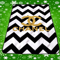 Chevrond Coco Chanel Logo Art Quilts Custom Music Gift Birthday Kids Fleece