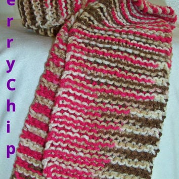 Winter Scarf-Pink and Brown
