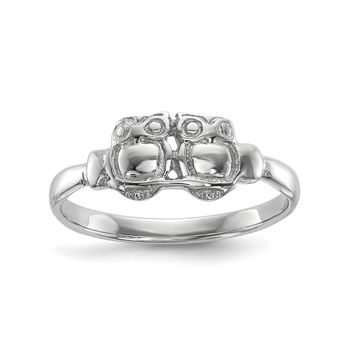 Sterling Silver Rhodium-plated Polished Two Owls Ring