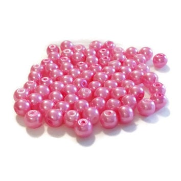 "8mm Glass Beads, Hot Pink 8mm Round Glass Pearl Bead, 8mm Beads, 55 Pearls, Pink Round Beads, Pearl Beads, 16"" Strand of Pearls"