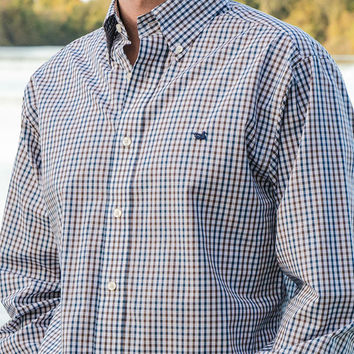 The Drake Grid Dress Shirt - Wrinkle Free - Collegiate - Georgia Southern University